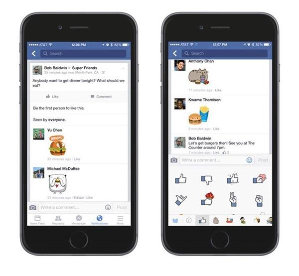 Facebook si aggiorna introducendo gli stickers nei commenti