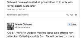 Un fix per i problemi WiFi di iOS 8 e iOS 8.1 arriverà su Cydia