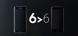 Samsung lancia la campagna 6 > 6, Galaxy S6 meglio di iPhone 6